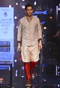 champagne-bandi-with-beige-red-embroidered-kurta-set