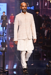 vanilla-kurta-with-embroidered-bandhgala