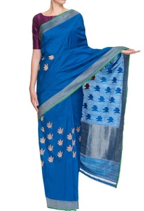 azure-blue-silver-sari