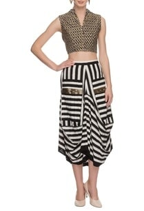 black-white-draped-skirt