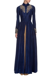 navy-blue-embroidered-jacket-lehenga-set