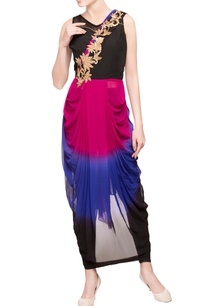 pink-black-embroidered-draped-kurta