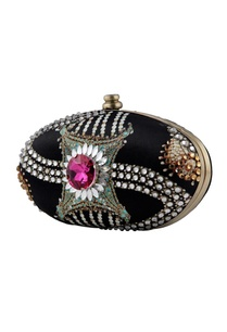 black-polki-oval-clutch