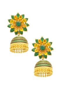 gold-green-floral-jhumkas