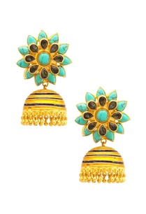 gold-blue-floral-jhumkas