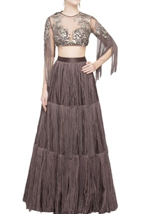 brown-tassel-lehenga-blouse