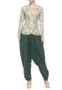 mint-blue-embroidered-kurti-with-dhoti-pants