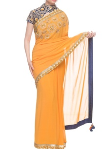 orange-sari-with-a-navy-blue-embroidered-blouse