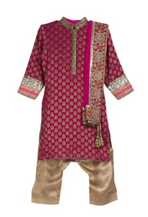 pink-brocade-kurta-with-gold-shimmer-patiala-pants-net-dupatta