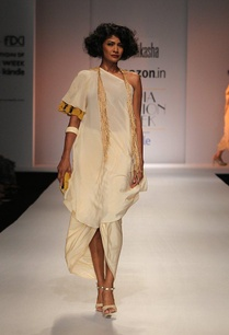 white-one-off-shoulder-kurta-with-draped-skirt