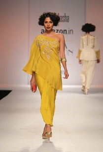 mustard-yellow-embroidered-kaftan-with-draped-skirt