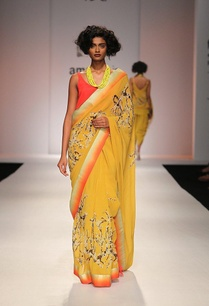 mustard-yellow-floral-printed-sari-with-orange-top