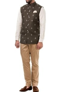 dark-grey-linen-thread-work-nehru-jacket