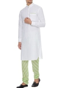 white-neon-green-linen-kurta-with-ikat-churidar