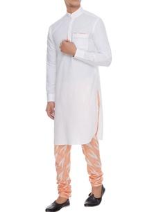 white-orange-linen-kurta-with-ikat-churidar