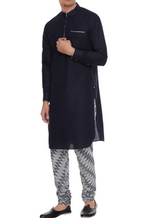 black-grey-linen-kurta-with-ikat-churidar