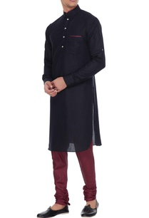 black-maroon-linen-kurta-with-silk-printed-churidar