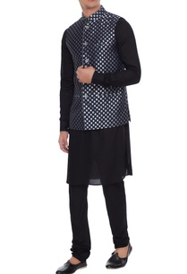 navy-blue-chanderi-banarasi-silk-blend-nehru-jacket-with-kurta-churidar