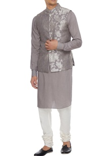 dark-grey-chanderi-banarasi-silk-blend-nehru-jacket-with-kurta-churidar