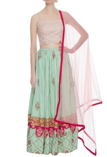 pink-bustier-with-pure-raw-silk-pearl-3d-embroidered-lehenga-set