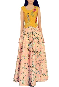 mustard-bird-embroidered-jacket-with-pink-printed-lehenga