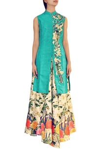 turquoise-bird-embroidered-kurta-with-floral-lehenga
