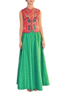 raani-bird-embroidered-jacket-with-emerald-lehenga