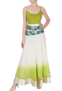 white-green-skirt-in-floral-embroidery-spaghetti-top
