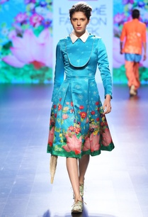 aqua-blue-floral-printed-bib-dress