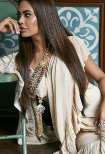 ruffle-mirror-work-sari-with-blouse-and-jacket