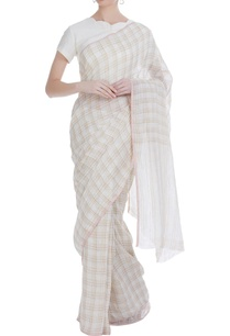 hand-woven-linen-sari-with-checkered-detail
