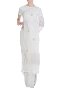 linen-handwoven-sari-with-flower-print