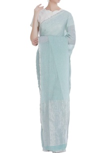 soft-checkered-linen-sari