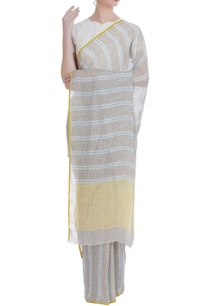 crome-detailed-handwoven-linen-sari