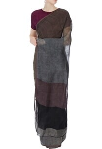 grey-brown-linen-sari