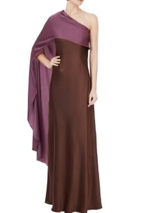 wine-one-shoulder-satin-lycra-gown