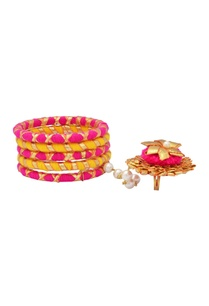 hot-pink-yellow-bangles-with-attached-ring