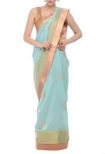 aqua-blue-brocade-sari