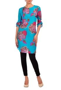 aqua-fuschia-floral-motif-printed-tunic