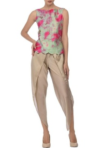 aqua-fuschia-tie-dye-top-with-beige-dhoti-pants