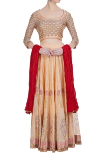 chanderi-silk-block-printed-lehenga-set