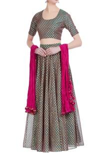 chanderi-silk-all-over-printed-lehenga-set-with-crushed-dupatta
