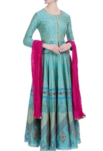 chanderi-silk-block-printed-lehenga-with-jacket-dupatta