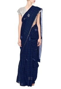 berry-blue-grid-linen-sari