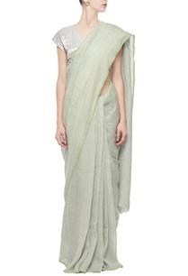 pebble-grey-grid-linen-sari