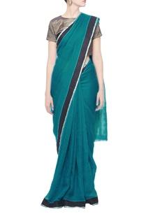 cyan-linen-sari-with-black-border