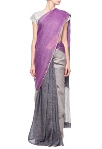 grey-black-purple-color-blocked-linen-sari