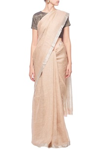 hazelnut-linen-sari-with-silver-border