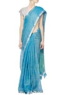 deep-aqua-linen-sari-with-silver-zari-border