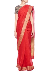 red-gold-zari-checkered-linen-sari